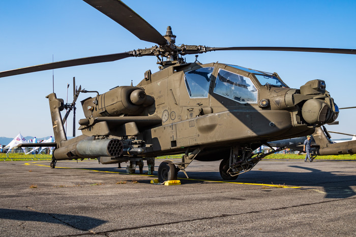 United States US Army Boeing AH-64E Apache Guardian 17-03147 attack helicopter static display at SIAF Slovak International Air Fest 2019